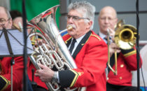 Photo of a welsh brass band performing at Croeso Swansea